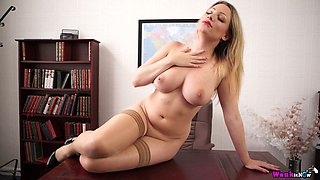 Slutty secretary with big boobies Penny L gets naked in the office