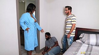 Step son fucks energized ebony with big tits and cums on her face