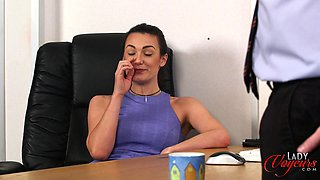Secretary Carla James watches her boss play with his large cock