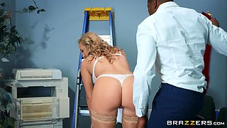 busty blonde wants big black cock at work