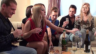 Incredible orgy with lot of cock hungry models during home party