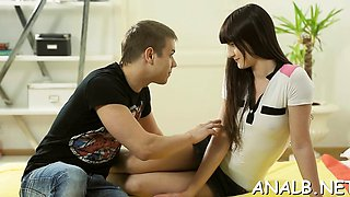 Striking barely legal Mirabella gets banged in several ways