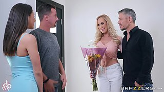 Abella Danger and Brandi Love swap cum in a hardcore foursome