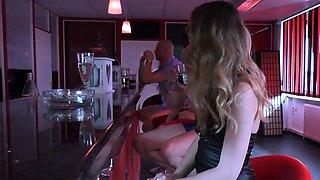 german smoking skinny teen 18yo in gangbang at public bar
