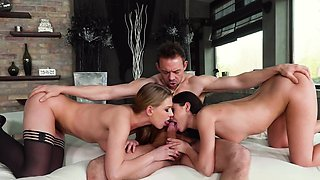 Awesome foursome of three babes and one strong fucker