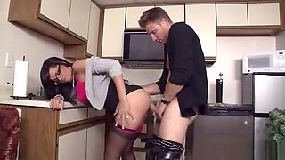 Heavenly dusky Stacey Foxxx acting in rimjob video