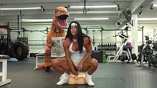 Camsoda - hot milf stepmom fucked by Trex in real gym sex