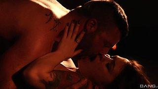 Romantic lovemaking with desirable brunette chick Misha Cross