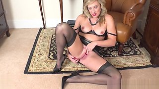 Horny blonde finger fucks wet pussy in girdle vintage nylons