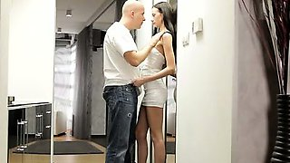 Super skinny babe Eveline Neill gives her man a warm wet
