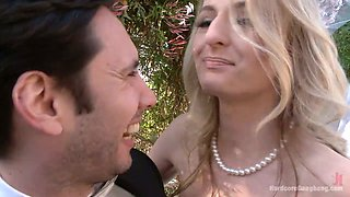 Blind folded bride Natasha Starr is fucked by groom and several dudes