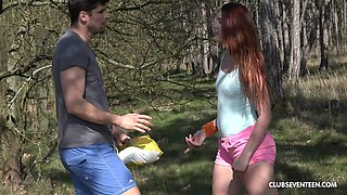 Picked up Czech girl Charlie Red is fucked doggy near the road