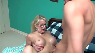 Crazy mature milf seduces and fucks her young roommate guy