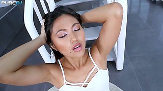 Exotic babe May Thai swallows thick long phallus in hot POV scene