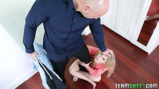 Bald headed boyfriend with huge cock J Mac fucks petite blondie Kali Roses