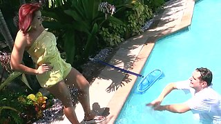 Curvy ass mom blows and fucks by the pool