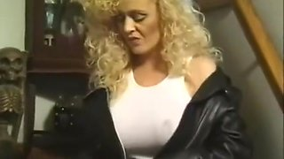 retro huge-breasted biker slut smoking tease