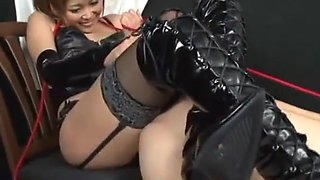 japanese mistress force licking her pussy