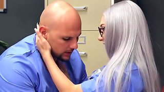 The blonde nurse was arranged in the hospital with a real doctor laid...