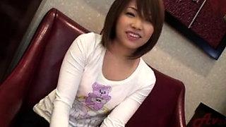 Ravishing Japanese teen doll Sara Seori fingering her hairy