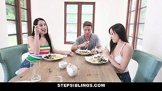 StepSiblings - Hot Body Sisters Seduce Their Stepbro