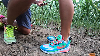 I had to kneel down in the field and cum on her new sneakers