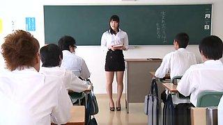 Kana Yume naughty Asian teacher in short skirt fucks