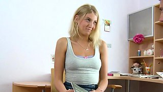German teen gives blowjob