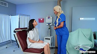 Hard oral fun between this hot female nurse and a slim MILF