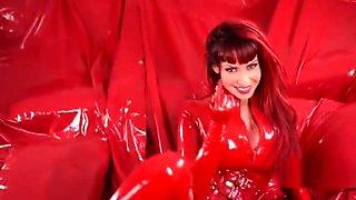 red latex girl