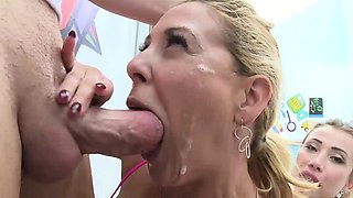 SWALLOWED Gorgeous babe sharing and deepthroating cock