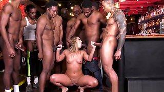 Whore swallows bbc jizz in bar