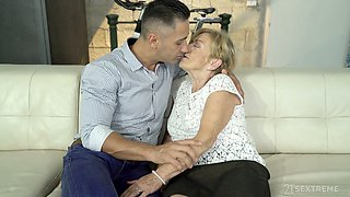 Young handsome gigolo fucks old nasty woman Malya and cums on her wrinkled face