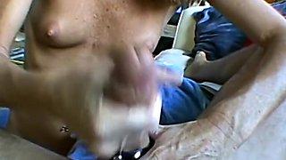 Skinny wife masturbates then gives me a handjob