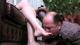 Slave worships mistress marabou slippers
