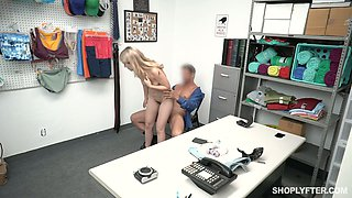 Guilty blonde Abby Adams deserves some hard doggy as punishment