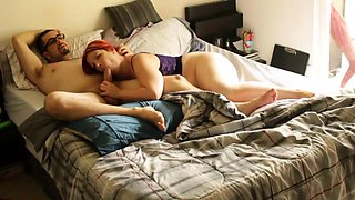Amateur redhead with a lovely ass sucks and rides a fat cock
