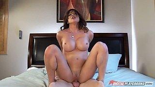 Adorable porn model Mia Lelani is sucking dick in 69 pose