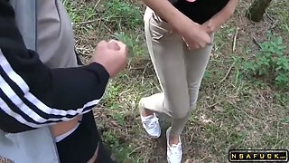 German stepmom assfucked and facialized in the woods