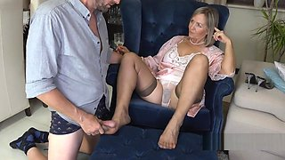 Nylon Foot job until he cums.