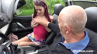Teen hitchhiker wanks grandpa for a ride