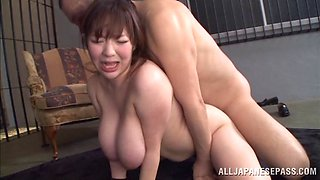 Horny Japanese schoolgirl with big tits getting humped till orgasm