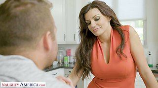 Bent over the counter busty sexpot Becky Bandini gets poked well