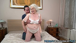 Busty old granny smashed