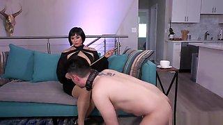 Busty Asian dominatrix anal fucks sub