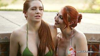 Big tit bikini babe squirts by the pool