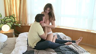 Buxom MILF Connie Carter revels in romantic bedroom sex