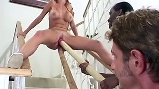 Thick cocks of both colors are penetrating her lusty holes