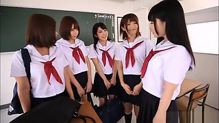 Superb Japanese schoolgirl group fuck with four beauties