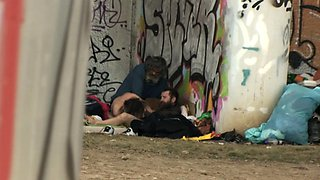 Pure Street Life Homeless Threesome Having Sex on Public